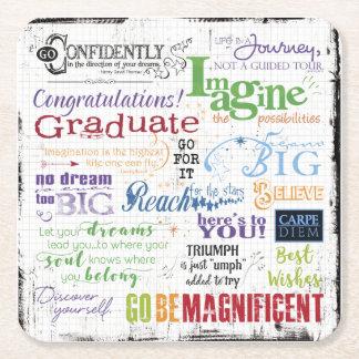Porta-copo De Papel Quadrado Arte da palavra da graduação
