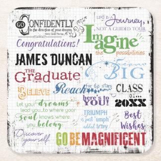 Porta-copo De Papel Quadrado Arte personalizada da palavra da graduação