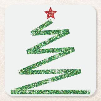 Porta-copo De Papel Quadrado Árvore de Natal do brilho