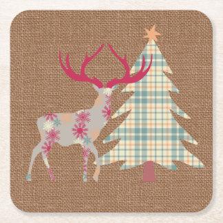 Porta-copo De Papel Quadrado Árvore do veado e de Natal de Boho no efeito de