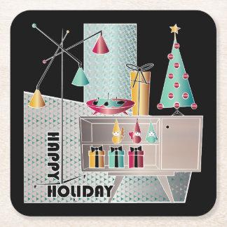 Porta-copo De Papel Quadrado Árvore retro do Natal