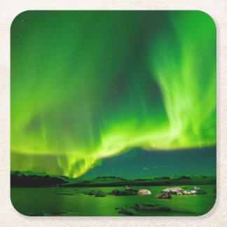Porta-copo De Papel Quadrado Aurora boreal de Islândia