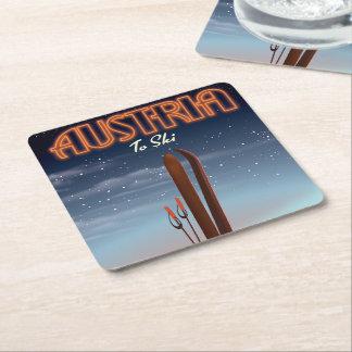Porta-copo De Papel Quadrado Áustria a esquiar - poster de viagens do esqui do
