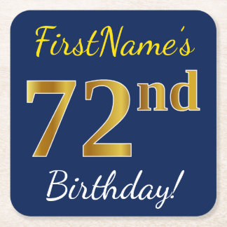 Porta-copo De Papel Quadrado Azul, aniversário do ouro do falso 72nd + Nome