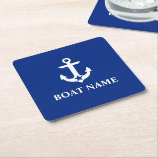 Porta-copo De Papel Quadrado Azul náutico da estrela da âncora do nome do barco