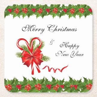 Porta-copo De Papel Quadrado Bagas Natal do azevinho e bastões de doces