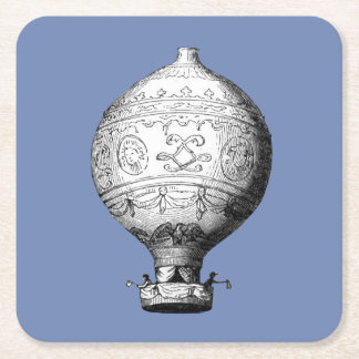 Porta-copo De Papel Quadrado Balão de ar quente do vintage de Montgolfier