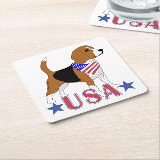 Porta-copo De Papel Quadrado Bandanna patriótico da bandeira do cão do lebreiro