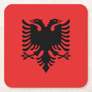 Porta-copo De Papel Quadrado Bandeira albanesa patriótica