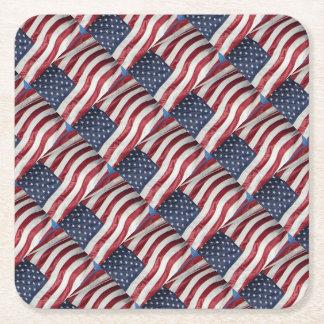 Porta-copo De Papel Quadrado Bandeira americana, azul branco vermelho da
