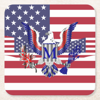 Porta-copo De Papel Quadrado Bandeira americana patriótica