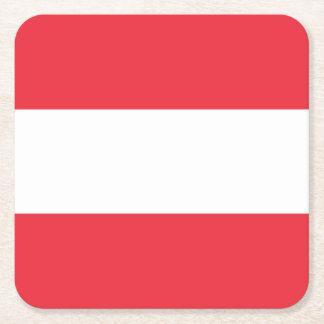 Porta-copo De Papel Quadrado Bandeira austríaca patriótica