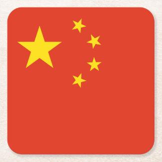 Porta-copo De Papel Quadrado Bandeira chinesa patriótica