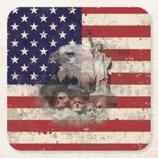 Porta-copo De Papel Quadrado Bandeira e símbolos dos Estados Unidos ID155