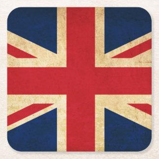 Porta-copo De Papel Quadrado Bandeira velha Union Jack de Reino Unido do Grunge