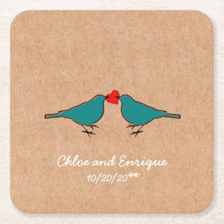 Porta-copo De Papel Quadrado Bluebirds e casamento do coração do amor