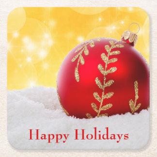 Porta-copo De Papel Quadrado Bola do Natal da neve de Bokeh do Natal