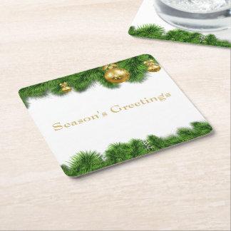 Porta-copo De Papel Quadrado Bolas do Natal do ouro da festão do pinho do Natal