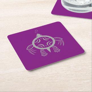 Porta-copo De Papel Quadrado Bolhas da tartaruga de mar