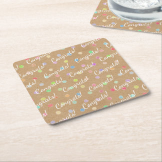 Porta-copo De Papel Quadrado Bolinhas coloridas no fundo do papel de embalagem