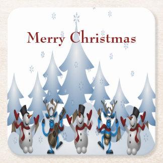 Porta-copo De Papel Quadrado Boneco de neve bonito do Natal e banda da rena