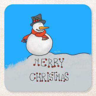 Porta-copo De Papel Quadrado Boneco de neve do Feliz Natal