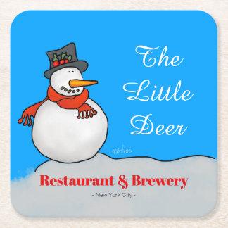 Porta-copo De Papel Quadrado Boneco de neve do restaurante & da cervejaria
