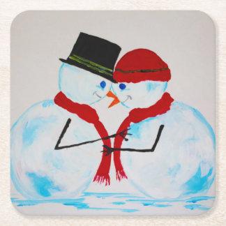 Porta-copo De Papel Quadrado Boneco de neve & Snowwoman