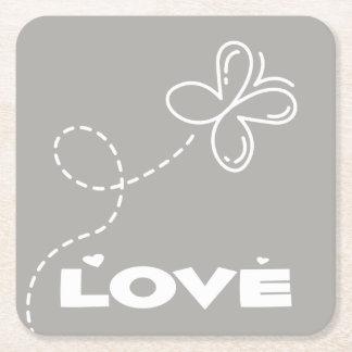 Porta-copo De Papel Quadrado Borboleta cinzenta & branca e casamento do amor