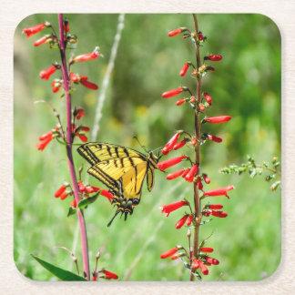 Porta-copo De Papel Quadrado Borboleta e Wildflowers de Swallowtail do tigre