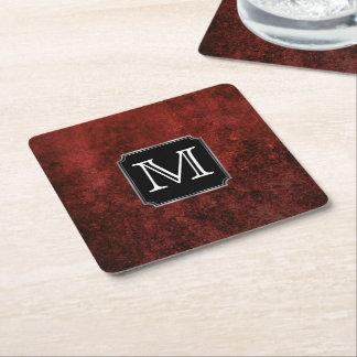 Porta-copo De Papel Quadrado Branco do preto do vermelho carmesim do monograma