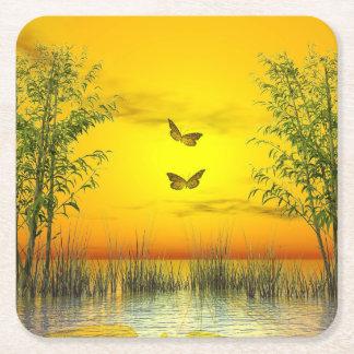 Porta-copo De Papel Quadrado Butterlflies pelo por do sol - 3D rendem