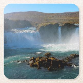 Porta-copo De Papel Quadrado Cachoeira de Islândia no verão