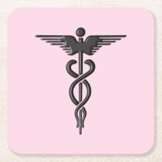 Porta-copo De Papel Quadrado Caduceus médico cor-de-rosa