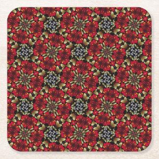 Porta-copo De Papel Quadrado Caleidoscópio vermelho tropical da mandala