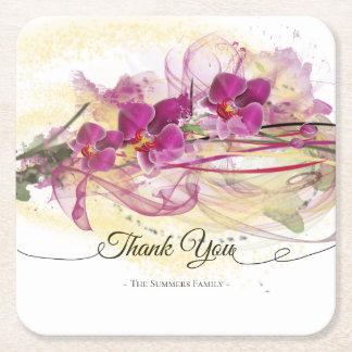 Porta-copo De Papel Quadrado Caligrafia roxa da arte abstracta das orquídeas