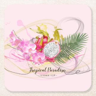 Porta-copo De Papel Quadrado Caligrafia tropical da fruta do dragão e da