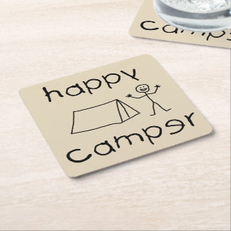 Porta-copo De Papel Quadrado Campista feliz (preto)