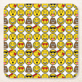 Porta-copo De Papel Quadrado Caras da emoção do teste padrão de Emoji do