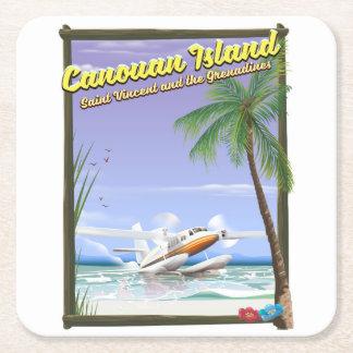 Porta-copo De Papel Quadrado Caribe, cartaz do paraíso das ilhas de Canouan