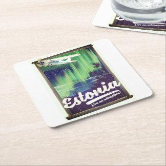 Porta-copo De Papel Quadrado Cartaz da aventura da aurora boreal de Estónia