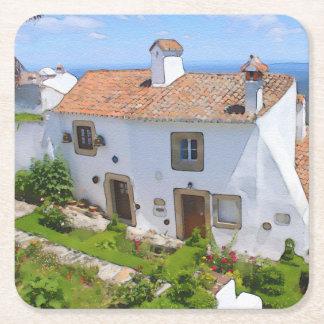 Porta-copo De Papel Quadrado Casa mediterrânea da aguarela