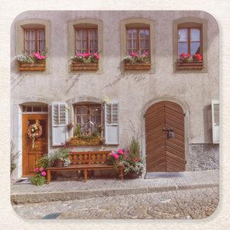 Porta-copo De Papel Quadrado Casa na vila do Gruyère, suiça