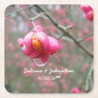 Porta-copo De Papel Quadrado Casamento cor-de-rosa da gota da flor e da chuva