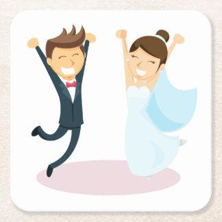 Porta-copo De Papel Quadrado Casamento da noiva & do noivo dos desenhos