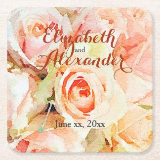 Porta-copo De Papel Quadrado Casamento feito sob encomenda dos rosas Pastel da