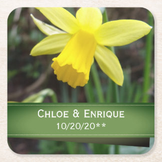 Porta-copo De Papel Quadrado Casamento personalizado do foco Daffodil macio