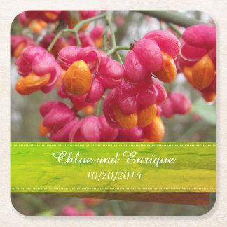 Porta-copo De Papel Quadrado Casamento personalizado do fruto do eixo flores