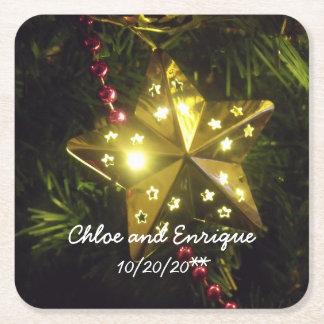 Porta-copo De Papel Quadrado Casamento personalizado estrela do Natal