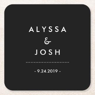 Porta-copo De Papel Quadrado Casamento preto e branco clássico e mínimo